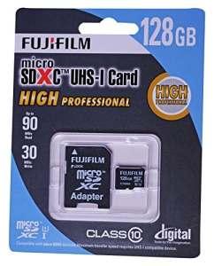 Fujifilm 128Go Haute Professionnel C10UHS-I Carte Micro SDXC avec Adaptateur