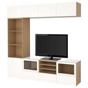 IKEA BESTA – TV effet stockage combinaison / portes en verre Chêne / haute brillance Selsviken / blanc verre clair