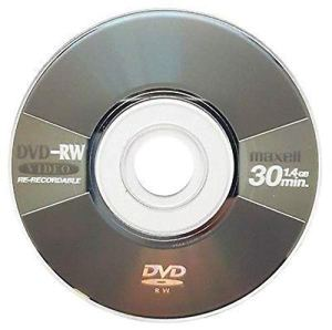 100x Maxell Vierge Mini 8cm DVD-RW Réinscriptible Gris métallisé (4x 30Min 1,4Go)