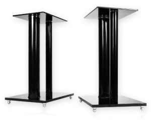 Minify V2 Black-Line Lot de 2 pieds support pour enceintes en verre et aluminium avec passe câble intégré