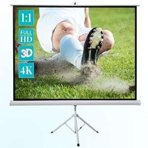 ivolum Écran de Projection sur Pied 200 x 200 cm – Format 1:1 – Écran Mobile pour vidéoprojecteurs montable en Quelques Minutes – Home-Cinéma ou bureautique