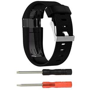 Bracelet à la Mode, fittingran Fitbit Charge HR Bracelet + Protector Film, Remplacement Silicone Sport Band Bracelet Bracelet Bracelet en Caoutchouc pour Bracelet Fitbit Charge HR Noir