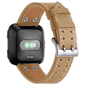 Bracelet à la Mode, fittingran pour Fitbit Versa Bande Bracelet en Cuir, Hommes Femmes Double Clou Remplacement de Luxe Sangle en Cuir véritable pour Bracelet Fitbit Versa Fitness Watch Kaki foncé