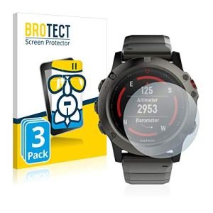 BROTECT Protection Ecran Verre pour Garmin Fenix 5X (51 mm) [3 Pièces] – Protecteur Vitre 9H – AirGlass