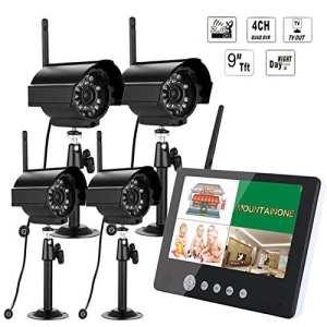 Doradus Système de sy903e14 sysd lcd 9inch moniteur DVR kit sans fil maison de CCTV de sécurité avec quatre caméras numériques