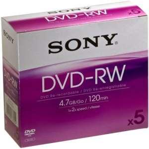 Sony – DVD-RW Enregistrable et Réinscriptible – Vitesse 2X – Pack de 5 – 4,7 Go / BC – 5DMW47A