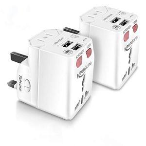 Adaptateur de Voyage Universel, keenstone Prise Internationale avec Lumières LED Adapteur Chargeur Convertisseur 2 Ports USB pour UE/US/UK/AUS et Plus de 150 Pays(2PCS)