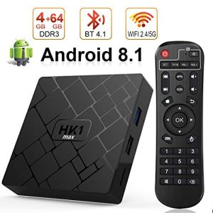 Android 8.1 TV Box [4GB RAM+64GB ROM] Boîtier TV [2019 Dernière Version] Livebox Android 8.1 Smart TV, Dual-WiFi 2.4G/5G/avec HD/H.265 / 4K / 3D / BT4.1
