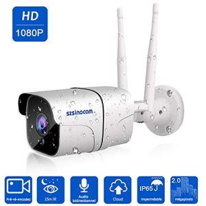 Caméra 1080P IP WiFi, Caméra résidentielle Intelligente SZSINOCAM FHD, Vision Nocturne,Alarme Push d'information Mobile,Son bidirectionnel, Moniteur de bébé à la Maison,iOS/Android/PC, Servicedecloud