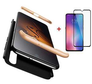 AILZH Compatible pour Coque Xiaomi Mi 9 Étui+[Verre trempé] Hard Shell Housse 360 degrés de Protection Totale Antichoc Pare-Chocs Bumper Anti-Rayures Cover Case Matte(Or Noir)