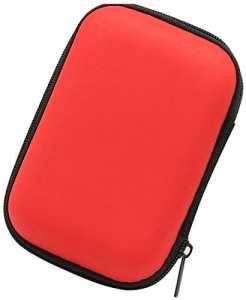 Lucklystar® Sacs de rangement avec fermeture Éclair étui disque dur Multifonctions Résistant aux chocs Rigide Housse étui de Protection pour disque dur câble et autre accessoires12*8*4CM(Rouge)