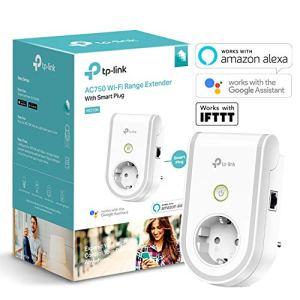TP-Link – RE270K – Répéteur WiFi AC750 Mbps avec prise connectée WiFi avec Google Assistant et IFTTT , Blanc