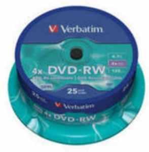 Verbatim DVD-RW 4x Argent spind2543639