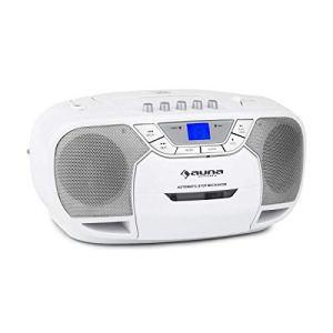 Auna BeeBerry Boom Box Ghettoblaster (Radio FM, Lecteur CD MP3, K7 USB, entrée AUX, Faible Poids à Vide, Fonctionnement sur Piles en Option) – Blanc