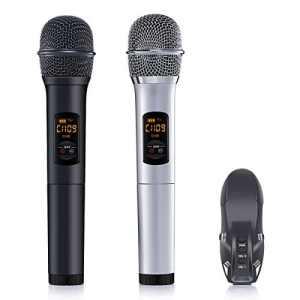 ELEGIANT Microphone sans Fil Micro Blutooth Portable de Système VHF avec Double Micro Dynamique Micro Multifonctionnel pour la Mariage à L'extérieur Karaoké DJ Soirée Fête Réunion Bar Eglise