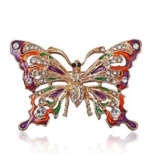 Elviray Creative Alloy Brooch Butterfly Shaped Rhinestones Brooch Decor Jewelry for Female Trendy Brooch Collar Pin