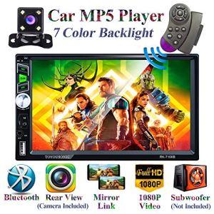 Honboom Autoradio Bluetooth 2 DIN Stéréo de Voiture écran Tactile HD de 7 Pouces avec Fonctions d'appel Mains Libres Bluetooth/Lien Miroir/FM/USB/Carte TF/entrée auxiliaire (caméra de recul Incluse)