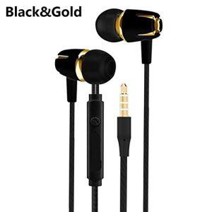 Wired écouteurs stéréo galvanoplastie Basse Casque Intra-auriculaire avec Micro Hansfree Appel pour Android Phone Ecouteur iOS (Or et Noir)