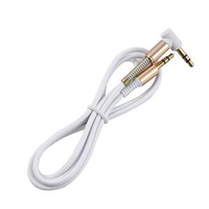 3.5 mm Jack 1M AUX Câble Audio Mâle à Mâle Câble Or Prise Ligne Cordon Ressort Câble Audio pour Téléphone De Voiture Haut-Parleur Casque(Color:White)