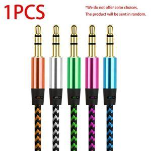 Câble Audio stéréo tressé Jack 3,5 mm, plaqué Or, mâle, câble, Haut-Parleur mâle Accessoires de Lecteur Audio Portable (Couleur: aléatoire)