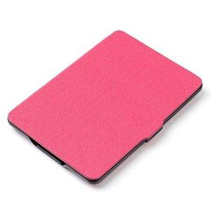 Xuxuou EasyAcc Kindle Paperwhite Housse,Etui Liseuse Kindle Paperwhite Ultra-Mince Etui,Amazon – Étui en Cuir pour Kindle Paperwhite1/2/3 (Rose foncé)