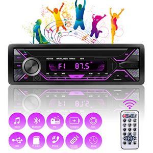 Autoradio Bluetooth Mains Libres, 4x60W Radio Voiture Support FM/USB/MP3/WMA/TF/AUX +Télécommande,7 Couleurs d'Eclairage
