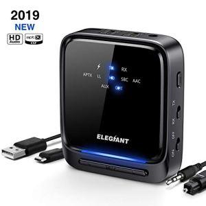 Adaptateur Bluetooth 5.0 ELEGIANT Émetteur Récepteur 2-en-1 Transmetteur Récepteur Bluetooth AptX à Faible Latence HD avec Optique Toslink/SPDIF pour TV Ordinateur Portable Stéréo Casque Haut-Parleur