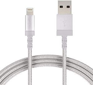 AmazonBasics Câble tressé en nylon Lightning vers USB Certifié Apple Argenté 1,8 m