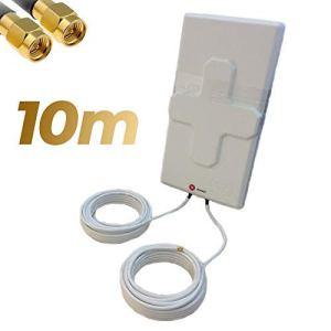 Antenne 4G Wonect 50 dBi Blanc Extérieur 5,10 ou 15 mètres Câble Connecteur SMA Mâle Intégré Blanche 10m