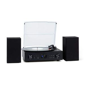 AUNA Connect Vinyl Radio Internet avec Platine, 40 W Max, Stéréo : 2 Haut-parleurs Inclus, Radio Internet, Dab/Dab+; Radio FM, Plateau tournant : 33/45 / 78, Bluetooth, Noir