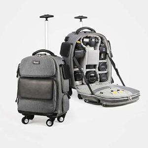 Camera backpack Valise Trolley Sac Photo,À Roues Sac a Dos Appareil Photo De Grande Capacité, étanche Et Antichoc Convient pour Ordinateur Portable 15.6 Pouces Lentille Trépied Grey-31 * 14 * 41cm