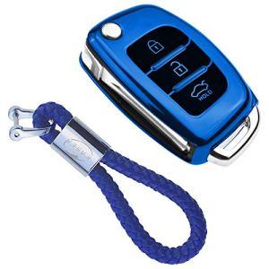 Coque en Silicone pour Clé Hyundai – Cover Housse TPU Souple en Chrome pour Télécommande Hyundai Kona i10 i30 ioniq Tucson Nexo Porte-clé Protection (Bleu)
