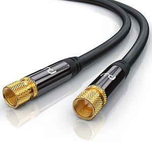 CSL-Computer 1,5m Premium câble d'antenne Sat Câble coaxial Koax HDTV Full HD Câble F pour Prise F – HDTV Full HD – Facteur de Blindage 135 DB Résistance 75 Ohm – Noir
