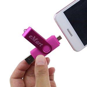Escomdp Lecteur Flash USB Android Micro USB OTG Jump Drive Clé USB Pour Les Smartphones, Tablettes et Ordinateurs Android (64GB, Rose)
