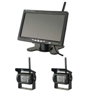 Fiaoen Kit de Caméra de Recul sans Fil IP67 étanche 18pcs LED Vision Nocturne IR Vision Arrière Inversée Caméra de Recul, 7″ TFT LCD Moniteur de Caméra de recul pour Remorque de Bus Clever