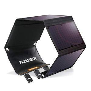 FLOUREON 28W Chargeur Panneau Solaire avec 3 Ports USB et 4 Panneaux Solaires Pliables Imperméables, Chargeur Solaire Portable Puissant