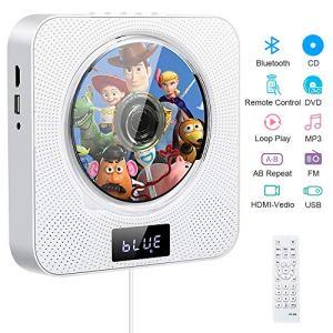 Lecteur de CD Portable, Lecteur CD/DVD de Musique Bluetooth à Fixation Murale avec 4K HDMI, Haut-parleurs HiFi, télécommande, Radio FM USB MP3, Prise Casque 3,5 mm Audio Home Cadeaux Boombox (White)