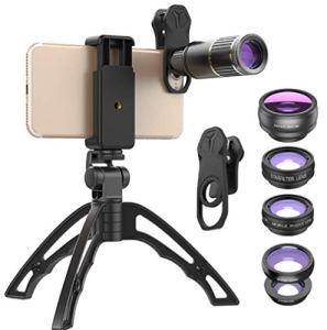 Lentille de téléphone portable, 16 fois téléobjectif de téléphone portable lentille de téléphone portable, téléobjectif en métal fisheye grand angle starlight externe caméra de téléphone portable