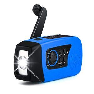 Leyeet Radio à Énergie Solaire Auto-Alimentée à Manivelle Portable FM/MW/WB avec Banque de Puissance de Lampe de Poche pour Téléphone Camping Randonnée Voyage