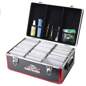 Liergou Caisse de Stockage de Disques Vintage Vinyl Record de Stockage CD DVD Case Sacoche en Aluminium LP Album BoxHolds jusqu'à 500 (Couleur : Noir, Taille : 45.5X30X19.5CM)