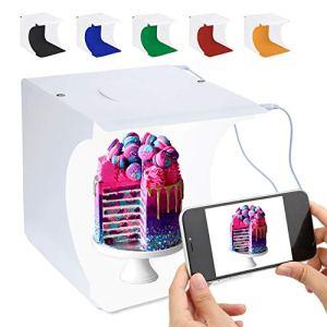 Portable Photo Studio Mini Kit De Tente De Tir Boîtier Pliant Photographie boîte à lumière avec luminosité 2×20 Cube LED Bande 8″6 Couleurs Toile de Fond (Boîte à lumière Photo Multicolore)