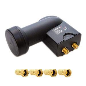 PremiumX Twin LNB noir Connexion directe SAT 2 participants Convertisseur de signal TV satellite DVB-S2 HD 4K avec 4x connecteur F