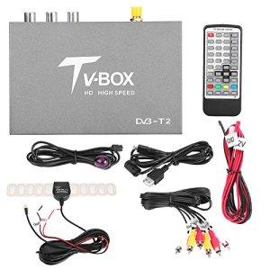 Qiilu TV Box 1080P HD DVB-T2 Récepteur de télévision numérique Portable avec télécommande d'antenne télécommande