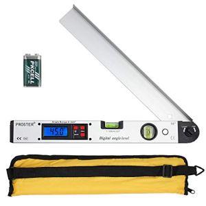 Rapporteur Numérique 0-225° Mesureur d'Angle avec Écran LCD Rapporteur Outil de Mesure 400mm/16 inch Angle Vertical Angle Double Niveau à Bulle Horizontal Calibre Inclinomètre