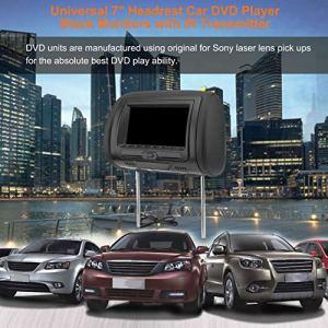 Universal 7″Appui-tête Lecteur DVD de Voiture Noir Voiture DVD/USB/HDMI Moniteur Appui-tête de Voiture avec Jeux Disque Haut-parleurs internes – Noir