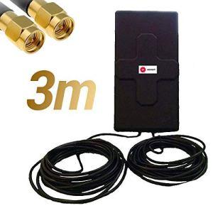 W WONECT Antenne 4G 50dbi LTE UMTS 3G Extérieur Câble SMA. Haute Puissance. Long Alcance. Extérieur Câble SMA mâle intégré 3m