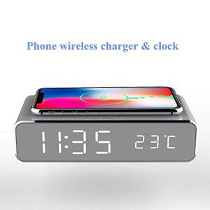 WXJHA Portable 10W réveil Recharge sans Fil, 2-en-1 Réveil LED numérique avec Chargeur sans Fil Qi et thermomètre, Design élégant Moderne