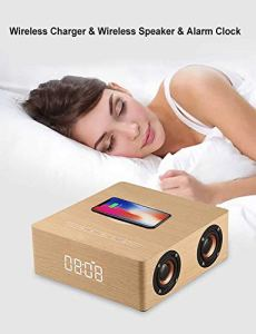 WXJHA Smart Alarm numérique sans Fil de Charge en Bois Radio-réveil, Haut-Parleur Bluetooth Smart Touch Accueil Bois Portable sans Fil Bluetooth Haut-Parleur
