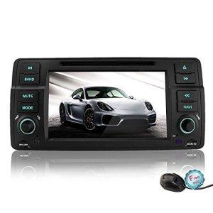 YINUO 7 Pouces Andriod 4.4.4 1DIN Autoradio DVD GPS Navigation avec Bluetooth pour BMW 3 Series E46 and M3 1998-2006, BMW E46 3ER 318 320 325 330 335, Quad Core 16GB 1024*600 écran tactile