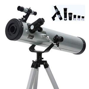 Baibao F70076 Téléscope pour enfants Téléscope pour astronomie, téléscope mobile mobile pour jeux de jeux en mouvement avec lentille en aluminium 3 oculaires réglables Argent (Silver)